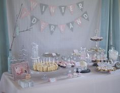 "Winter ""One-Derland"" Dessert Table - #partytable #firstbirthday"