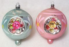 Large Vintage Christmas Tree Ornaments Triple Indent Tear Drop