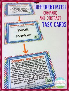 Teaching Children to Compare & Contrast .y.  A great introduction that includes using a fun picture book and differentiated task cards!