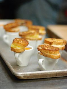 Mini grilled cheese and tomato soup??? love the presentation!