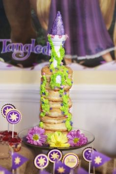 rapunzel-tangled-birthday-party-donut-cake