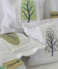 Lavender Sachets Four Healthy Alternative to Chemically Treated Dryer sheet Upcycled Linen Seasons Patched on Pillow Sachets. Make for my drawers and wardrobe.