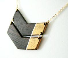 Wooden Colorblock Chevron Necklace