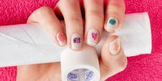 DIY nail art: How to do marble effect shapes using adhesive tape and cling film - You don't need to be a pro to nail this look - pinky promise! Your tools are hiding in your kitchen cupboard.