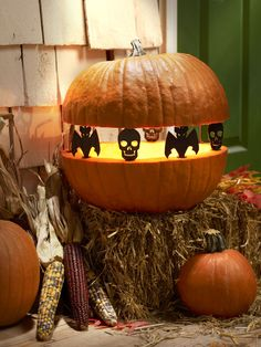 """Create """"Spook-tacular"""" silhouettes with Bat/Skull Pumpkin Pegs™. They are reusable and fun! #halloween #DIY #plaidcrafts"""