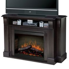 media console with built-in electric fireplace ... want!