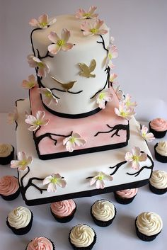 Dogwood Blossom Wedding Cake with Cupcakes | Flickr - Photo Sharing!