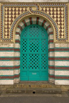 Turquoise patterned doorway