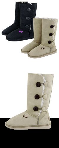 Purple Paw Microfiber Sherpa Lined 3-Button Boots at The Animal Rescue Site