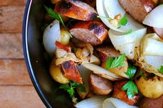 grilled potatoes & sausages