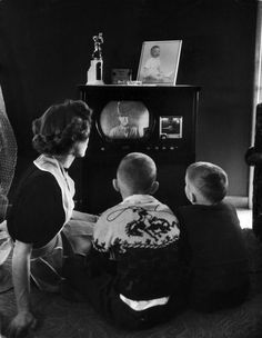 Watching a Western on TV in 1950.