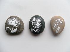 thistle  - painted stone - medium size