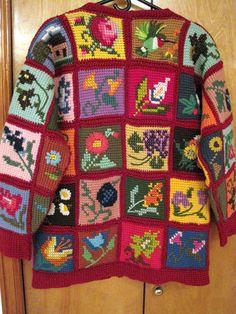 dbkn5's Embroidered Tunisian-Square Sweater Coat reconstruction crochet infatu, squar sweater, sweater coat