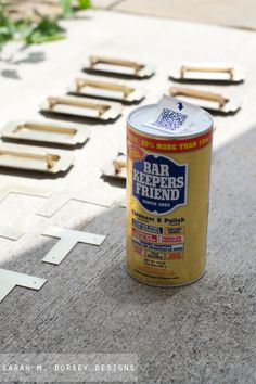 Use Bar Keepers Friend to clean up old furniture hardware.  Sarah says it works perfectly.  sarah m. dorsey designs:
