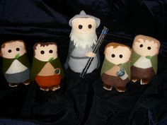 Hobbit and Gandalf plushies made from felt.