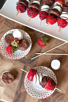 Strawberry Brownie Kabobs - you can replace the marshmallows with bananas and the brownie mix with a healthier brownie recipe to make this feel less guilty :)