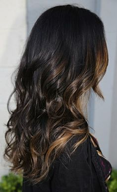 peek-a-boo highlights on dark hair. @ Hair Color and Makeover Inspiration