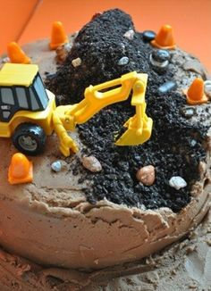 Great kids cake idea... birthday parti, construction birthday, boy cakes, boy birthday cakes, kid birthdays, 2nd birthday, little boy birthday, chocolate cakes, little boys