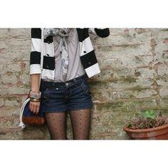denim shorts, striped cardigan and polka dot tights