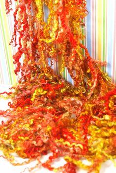 Handspun Art Yarn- Summer Peaches- Signature Jazzturtle TailSpun Artisan Yarn. $65.00, via Etsy.