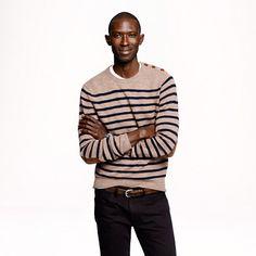 Rustic merino elbow-patch sweater in stripe.