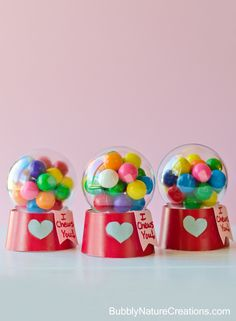 Mini Bubblegum Machine Valentines! {Tutorial} Made with a paper cup and a plastic ball ornament -- SO CUTE!