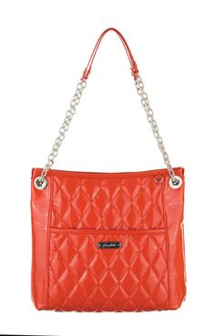 Grace Adele Handbag ~ Alex Orange $80 ~ Patent quilted bag with convertible chain straps.