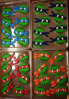 Teenage Mutant Ninja Turtle Cookies  Made these with a ribbon awareness cookie cutter & a circle cookie cutter.