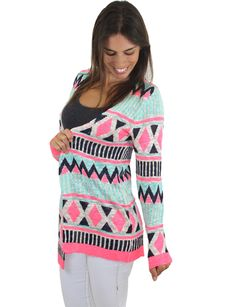 Mint And Neon Pink Cardigan – B25