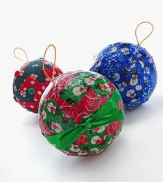 Mod Podge fabric Christmas ornaments - a great kids' craft idea