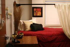 dorm curtain bed, canopi hack, beds, dorm room, loft bed curtains, dorm bed curtains, bed frame, bed canopies, dorm idea