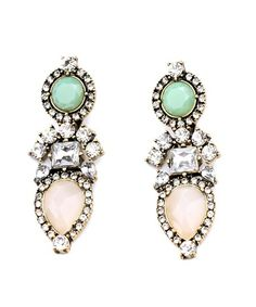 Laila - Two Toned Crystal Drop Earrings