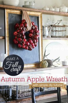 DIY Apple Wreath How To Craft Tutorial #fall #autumn