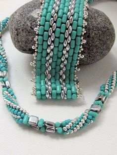 new twisted hb using size 8 & 11 seed beads, checkmates, rulla & super duo beads...