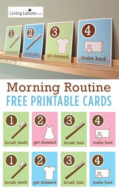 Kids Morning Routine Free Printable Flash Cards. Visuals to help kids be more responsible on their own. LivingLocurto.com #kids #tips #routine
