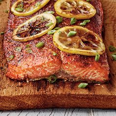 Cedar-Planked Salmon pairs smoky cedar flavor with a  Sweet-and-Salty Salmon Rub for this simple and delicious salmon dish.