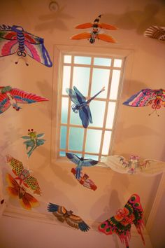 Even the project room ceiling is beautiful - look up to see amazing Asian kites.