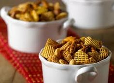 Chex mix:  7 cups Kellogg's® Crispix® cereal 1 cup mixed nuts 1 cup pretzels 3 tablespoons butter or margarine, melted 4 teaspoons Worcestershire sauce 2 teaspoons lemon juice 1/4 teaspoon garlic salt 1/4 teaspoon onion salt