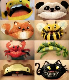 Lips of Animals costum, kiss, face paintings, lip art, makeup, pucker up, lipstick, parti, kid