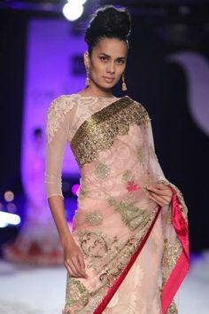 Delhi Couture Week 2013: Varun Bahl pink silver gold sari