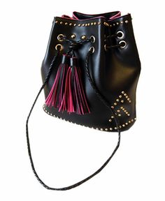 Rivets Embellishment Tassel Drawstring Shoulder Bag