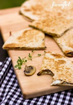 Cheesy Mushroom and Herb Quesadillas with Smoky Salsa from @Brenda Franklin Score | a farmgirls dabbles