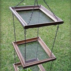 Picture frames + screens + chains = hanging herb dryers
