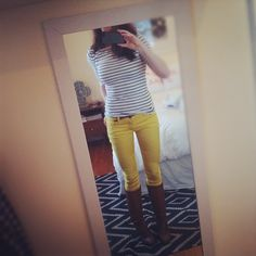 yellow pants and stripes (of course)