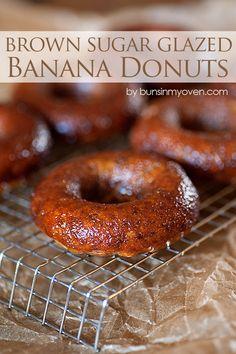 Brown Sugar Glazed Banana Donuts #recipe by bunsinmyoven.com