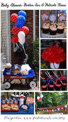 Baby Shower- Boston Red Sox & Patriots Sports Theme www.frostedevents.com Baby Boy Shower Ideas
