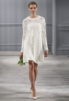 "Short Wedding Dresses – Monique Lhuillier ""Andie"" guipure lace dress and coat | Spring 2014 Bridal Collection"