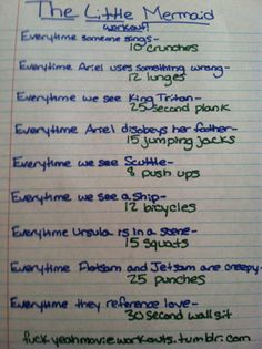 movie/tv show workouts  lol