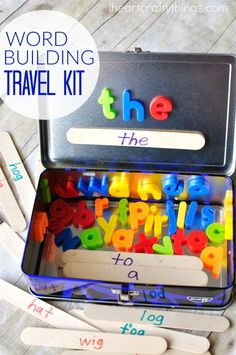 (iheartcraftythings.com) This word building activity travel kit is perfect for toddlers and preschoolers for long car rides. Use sight words, color words or word families.