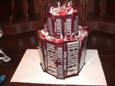 A Chocolate Lovers Valentine's Day Idea that is so cute. The Hershey's Candy Craft Cake is made from Hershey chocolate candy bars.